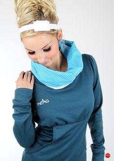 Langarmpullover petrol/weiß mit Stehkragen // sweater in petrol/white with stand-up collar via DaWanda.com