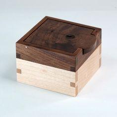 Keepsake Box Wooden Ring Box Knotty Walnut Maple by JMCraftworks