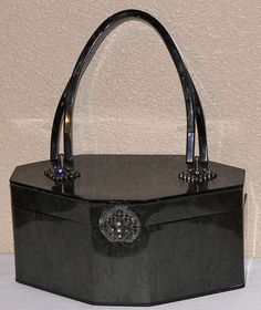 1950's charcoal and black lucite purse