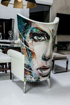 Chair design by Interior Designer Cachel Rupp from Coveted Quarters | art work by Danny O'Connor #artpeople www.artpeoplegallery.com