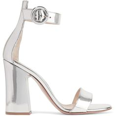 Gianvito Rossi Portofino metallic leather sandals (£525) ❤ liked on Polyvore featuring shoes, sandals, silver metallic sandals, silver strappy shoes, leather sandals, strappy sandals and silver metallic shoes