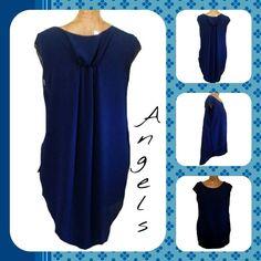 Maglia vestito shirt donna woman fraü femme con pinze dietro blu scuro