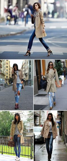 Inspiration: Trench Coat + stripes  I really need a classic trench!!!!