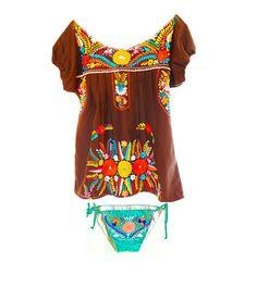 Mexican dress tunic bohemian mini crochet off shoulder and Bikini bottom