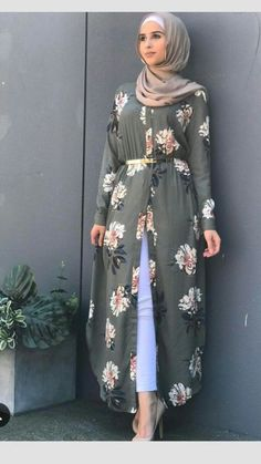 """Open kimono dress in hijab fashion.❤❤""""Hijab means clothe yourself with compassion, kindness, humility, gentleness and patience"""" - anonymous❤❤ Modest Fashion Hijab, Abaya Fashion, Fashion Dresses, Modest Outfits Muslim, Islamic Fashion, Muslim Fashion, Moda Hijab, Chemise Fashion, Mode Abaya"""