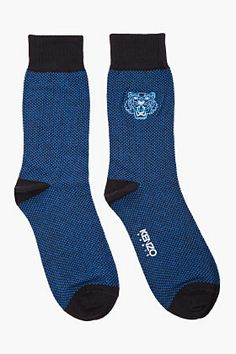 Kenzo Blue & Navy Embroidered Tiger Socks for men | SSENSE