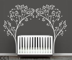 Tree Canopy Portal Wall Decal - White tree decal, brown tree, pink tree - Very large trees - Modern Nursery Wall Decor