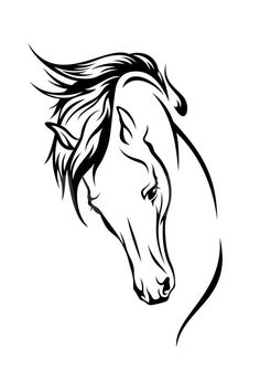 Buy Pferdekopf Black Horse Head Vinyl Art Wall Stickers Decal Animal DIY Living Room Home Decor Aufkleber at Wish - Shopping Made Fun Horse Head, Horse Art, Tattoos Pinterest, Horse Outline, Horse Stencil, Horse Silhouette, Silhouette Cameo, Horse Drawings, Art Drawings