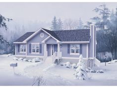 Ranch House Plan Front of Home 053D-0029  from houseplansandmore.com