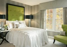 Guest Bedroom_Platinum Retreat_Green and Gray and White Modern Bedroom Interior Design