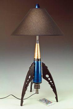 Rocket Lamp, Retro Rocket, Nightstand Lamp, Machine Age, Thing 1, Dream Studio, Space Age, Lamp Shades, Steam Punk