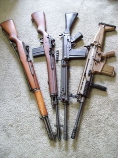 M1 Garand, M14, FN FAL, FN SCAR-17. Last three in 7.62x51mm NATO. The Garand is in 7.62x63mm (.30 US rifle)