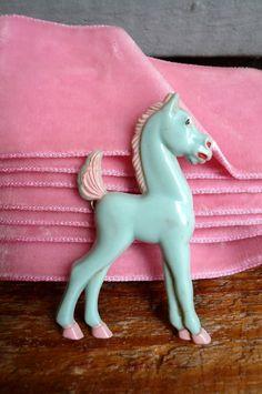 Vintage Blue Horse Brooch