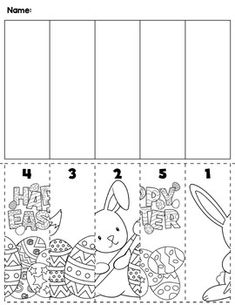 Spring Easter preschool cut and order for numbers 1-5. Package includes five no prep worksheets.