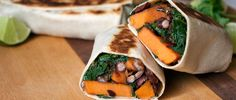 Healthy, protein-packed sweet potato and black bean burritos get a south-of-the-border kick with spicy chipotle peppers. Get the 220-calorie recipe here.
