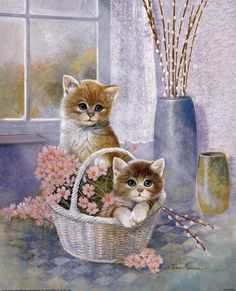 Flower Basket with Cats