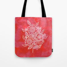 Pink flowers Tote Bag by seelas Handicraft, White Cotton, Pink Flowers, Towels, About Me Blog, Reusable Tote Bags, Bath, Sun, Printed