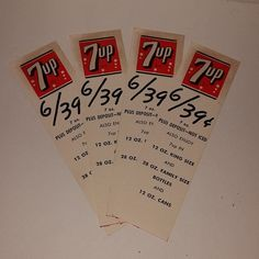 Vintage advertising 7up soft drink carton tags lot of 4 price cards old paper mixed media supplies altered art scrap