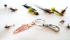 Funny Mens gift copper fish keychain - fly fishing fisherman - hand stamped copper key chain on Etsy, $22.00
