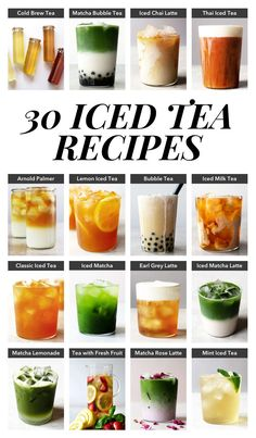 30 Refreshing Iced Tea Recipes Kick back and relax this summer with these refreshing iced teas. 30 delicious iced tea recipes you can make at home from cold brew tea to bubble tea. Iced Tea Recipes, Coffee Recipes, Drink Recipes, Smoothie Recipes, Fruit Tea Recipes, Smoothie Detox, Starbucks Recipes, Boba Tea Recipe, Mint Iced Tea