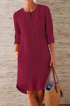 Long Sleeve Midi Dress, Maxi Dress With Sleeves, Shirt Dress, Linen Dresses, Casual Dresses, Fashion Dresses, Midi Dresses, Ropa Shabby Chic, Latest Dress