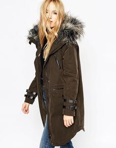ASOS Parka in Wax Finish With Buckle Detail