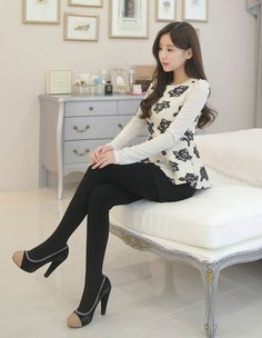 Best 11 – Page 346847608801847756 – SkillOfKing.Com Pantyhose Outfits, Nylons, Asian Fashion, Girl Fashion, Womens Fashion, Black Heels Outfit, Black Opaque Tights, Fashion Tights, Girls In Leggings