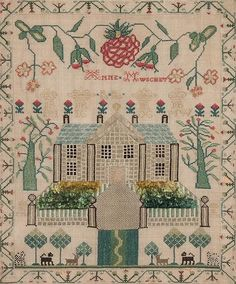 19th century Scottish sampler with house motif, worked by Anne Mwschet