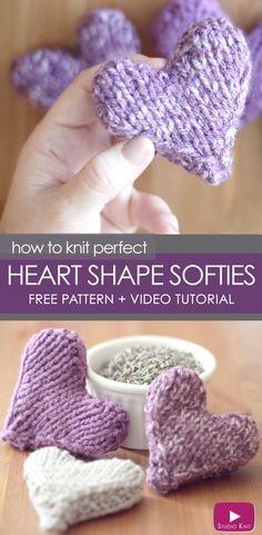 Knit a Heart Shape | Puffy Heart Softies with Free Knitting Pattern + Video Tutorial by Studio Knit via @StudioKnit