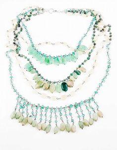 Orlov Jewellery-Multiline semiprecious stones Turquoise Necklace, Stones, Jewellery, Collection, Rocks, Jewelery, Jewlery, Stone
