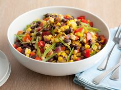 Black Bean and Corn Salad Recipe : Guy Fieri : Recipes : Food Network Top Recipes, Side Dish Recipes, Cooking Recipes, Healthy Recipes, Cooking Tips, Corn And Bean Salad, Soup And Salad, Pasta Salad, Potato Salad