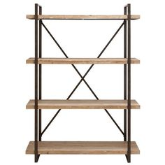 Bookcase with four wood shelves and a metal frame.     Product: BookcaseConstruction Material: Premium grade me...