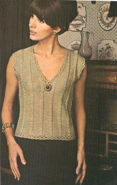 Vintage 1960s Mock Cable Shell Knitting Pattern PDF 6718. Vintage Crochet  ... fc80e8613