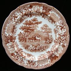 Transferware Plate Dog & Sheep ~ Aesop`s Fables 1835