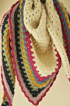 Crochet Granny Triangle Shawl - free pattern by Zeens and Roger. Pretty edging, dk yarn.