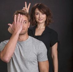 How do you like these two as a pair? Milana Vayntrub and Justin Hartley play Sloan and Kevin on 'This Is Us'. Holidays In America, Justin Hartley, Mid Length Hair, Haircut And Color, Hair Today, Hair Lengths, The Man, Hair Inspiration, This Is Us