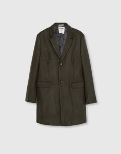 Pull&Bear - hombre - ropa - abrigos y cazadoras - abrigo paño básico - kaki - 09750509-I2016
