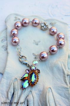 Vintage AB Rhinestone and Glass Pearl One of a Kind by simplymeart, $60.00