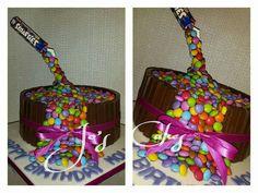 Pouring smarties anti gravity birthday cake! Yum!