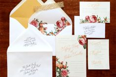 French Botanical Wedding invitations, fall wedding, pastel wedding, gold wedding