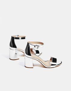 24885a5f881e Metallic vinyl high heel sandals - Bershka  fashion  product  shoes  sandals   strappy  heels  metal  metallic  sandalias  metalico  tacon  trend  trendy  ...