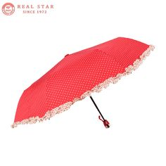 8cebb52fd1def RST Real Star high quality ladies dot design lace three folding automatic  umbrella pocket