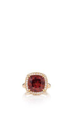 Peach Zircon Ring Set In Diamond Nest by PAMELA HUIZENGA for Preorder on Moda Operandi