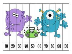 Here's a set of 5 different number order puzzles for counting by 10.