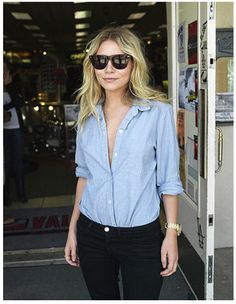 +Easy casual look on MK Olsen; black jeans and chambray shirt