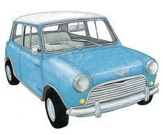 Vintage Blue Mini Cooper - drawing by Christine Berrie Illustration, via Flickr