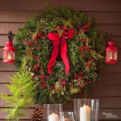 Small touches of holly will instantly spruce up your holiday wreath.