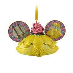 Disney Belle Ear Hat Ornament | Disney StoreBelle Ear Hat Ornament - Celebrate the season with beauty. Designed in the shape of the famous Mickey ears hat, this limited edition ornament inspired by Beauty and the Beast comes with a glittering rose accent and is ''signed'' by Belle herself.