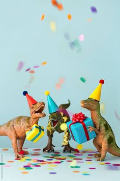 Dinosaur birthday party by Ruth Black - Birthday, Birthday party - Stocksy United Happy Birthday Fun, Birthday Box, Dinosaur Birthday Party, Happy Birthday Greetings, Dinosaur Photo, Dinosaur Funny, Birthday Messages, Birthday Images, Toys Photography