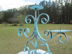 Shabby Chic Candle Holder,metal Candle Holder,Aqua Candle Holder,scroll, wedding decor,ornate, turquoise candle holder,Candle Stick,iron, by KarensChicNShabby on Etsy